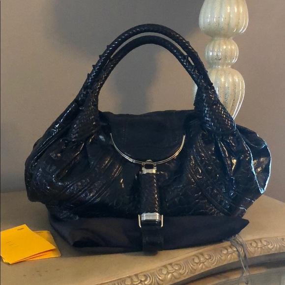f1d75bfdbce6 Authentic fendi patent black spy bag like new